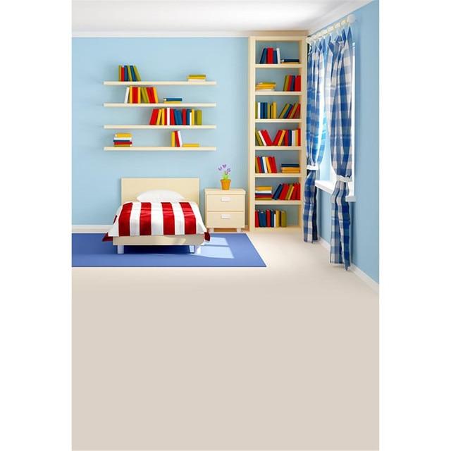 Boy Kids Bedroom Backdrop Photography Solid Light Blue Wall Bookshelf Window Curtain Printed Children Photo Studio