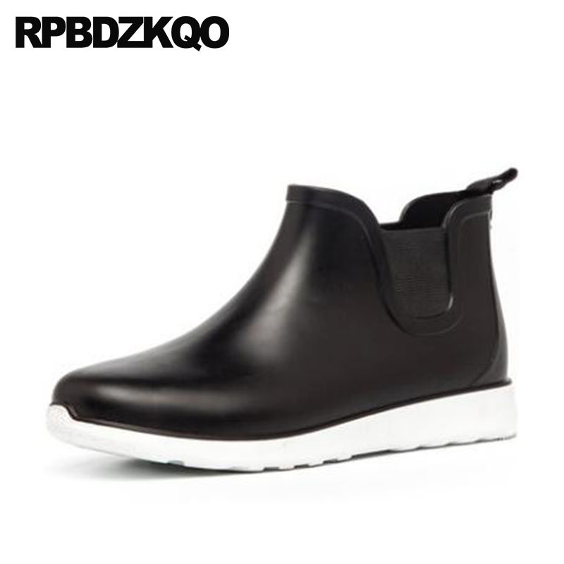 цены Blue Boots Black Rubber Rain Men Slip On Casual Shoes Pvc Waterproof Chelsea Booties Ankle Wedge Cheap Trainer High Top Sneakers