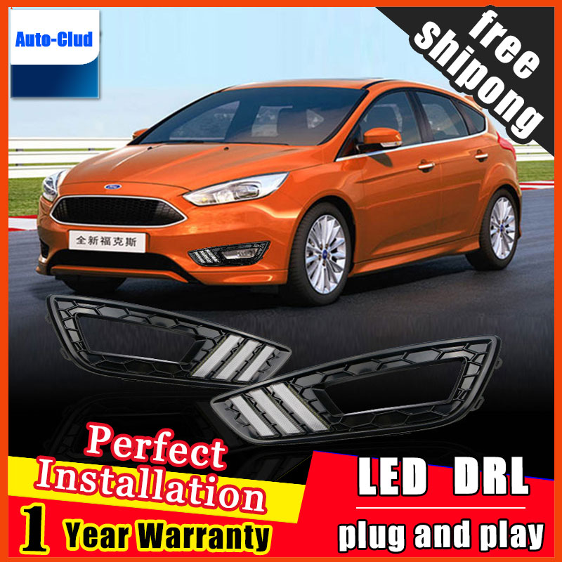 Car Styling Daytime Running Light DRL LED With Turning Signal Fog Lamp Decorative 2 function For Ford focus 3 2015 2016