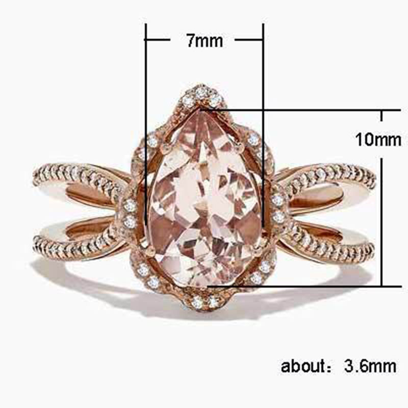 Classic Cubic Zirconia Engagement Ring for Women Rose Gold Color Water Drop CZ Ring Ladies Wedding Ring Fashion Elegant Jewelry in Rings from Jewelry Accessories