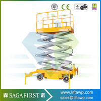 Top Design 4m to 18m 500KG Mobile hydraulic scissor lift with rail guard