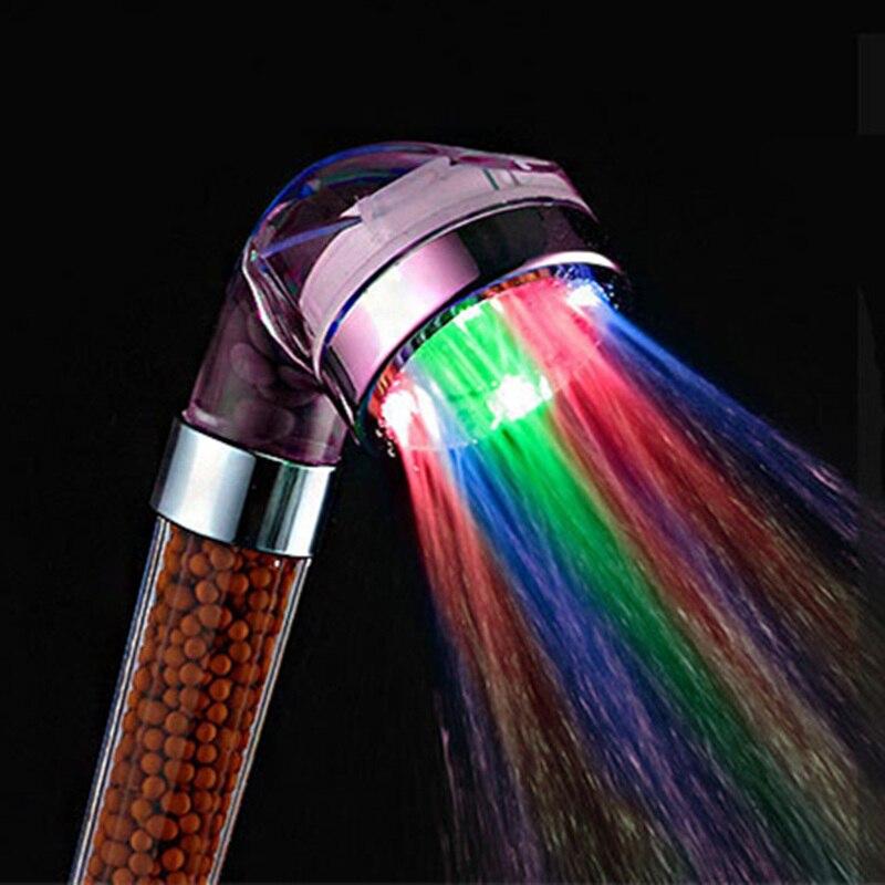 Caliente pvivlis ducha anión del LED spa cabeza de ducha de ahorro de agua a presión control de temperatura mano gran ducha de lluvia