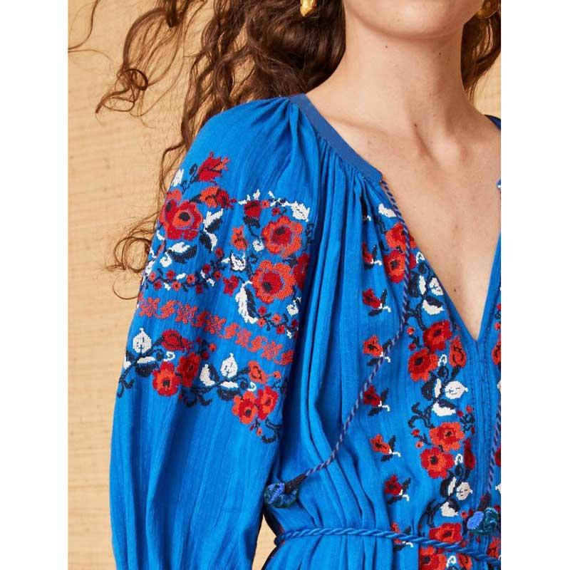 Abiti Sino Boho Primavera Scollo 2019 A V Maniche Donne Lunghe Nappa Embroideried Con Estate Ucraina Vestito Folk Allentato Blu Del Floral Twx0HFrT