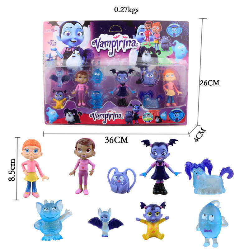 9 Pcs/LOT Junior Vampirina The Vamp Action Figures Toy Doll For Kids Gifts Original Retail Box Boy Girl 3.5-8.5CM Anime Cartoon lps toy bag 25pcs pet shop animals cats puppy kids boy and girl action figures pvc lps toy birthday christmas gift 4 5cm