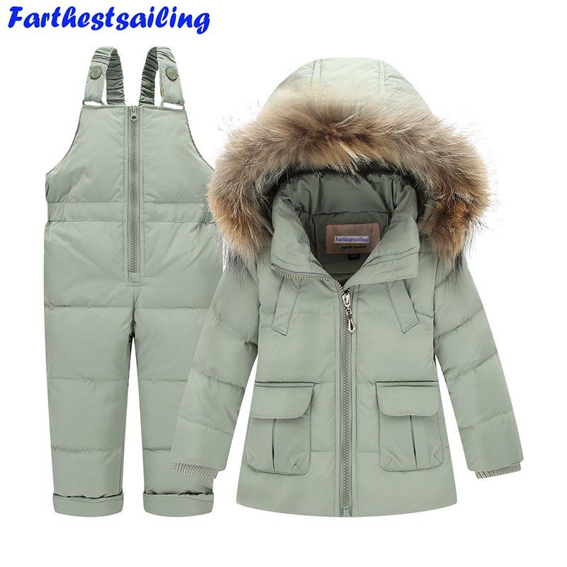 Children Winter Suits Boys Girls Duck Down Jacket + Bib Pants 2 Pcs Clothing Set Thermal Kids Warm Thicker Coat Snow Wear Parka