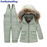 Children Winter Suits Boys Girls Duck Down Jacket + Bib Pants 2 Pcs Clothing Set Thermal Kids Warm Thicker Coat Snow Wear Parka