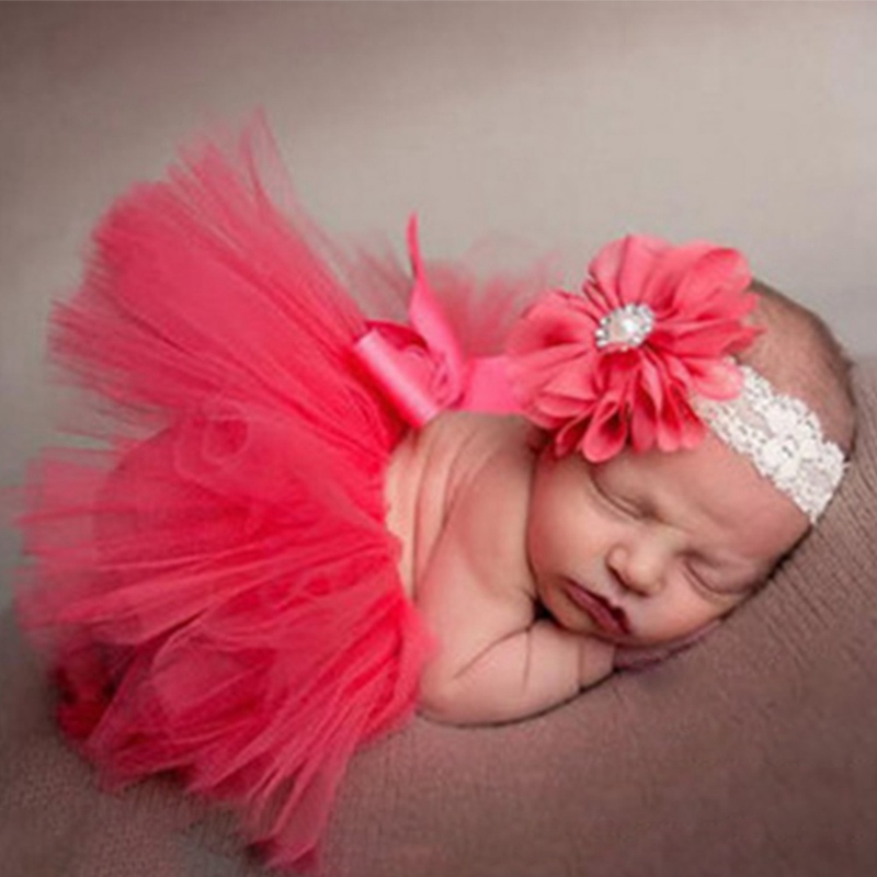 Newborn Photography Props Infant Costume Outfit Princess Baby Tutu Skirt Headband Baby Photography Prop With Real Photo newborn baby photography props infant knit crochet costume peacock photo prop costume headband hat clothes set baby shower gift page 2