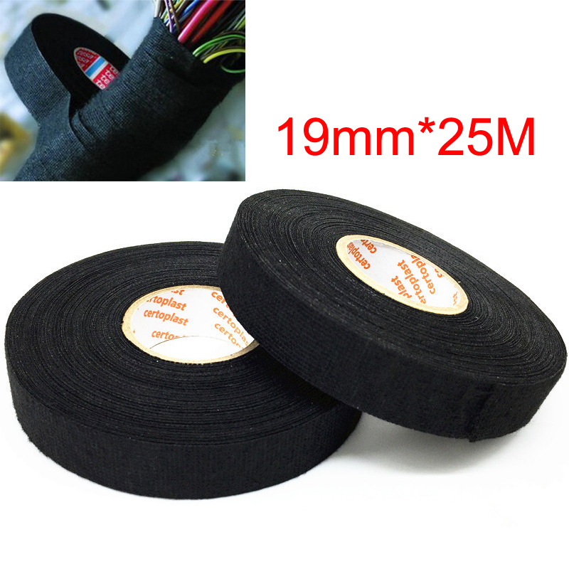 2 Rolls TESA Cloth Tape Adhesive Looms Wire Harness 19mm*15m Black For Car Auto
