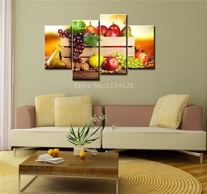No Frame 4 Pieces Paintings For The Kitchen Fruit Wall Decor Modern Canvas Art Wall Pictures