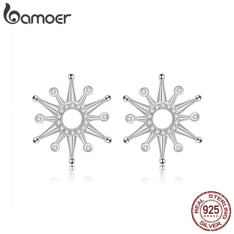 Bamoer Radiant Firework Stud Earrings For Women Clear Cubic Zirconia Earing Sterling Silver 925 Luxury Fine Jewelry SCE640