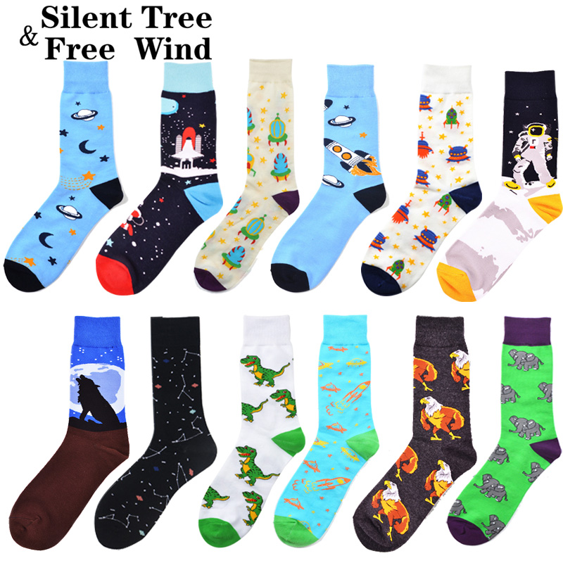 Novelty Funny Men's Crazy Space Animal Crew   Socks   Winter Colorful Cool Rocket Astronaut Dinosaur Dress   Socks   for Men Boyfriend