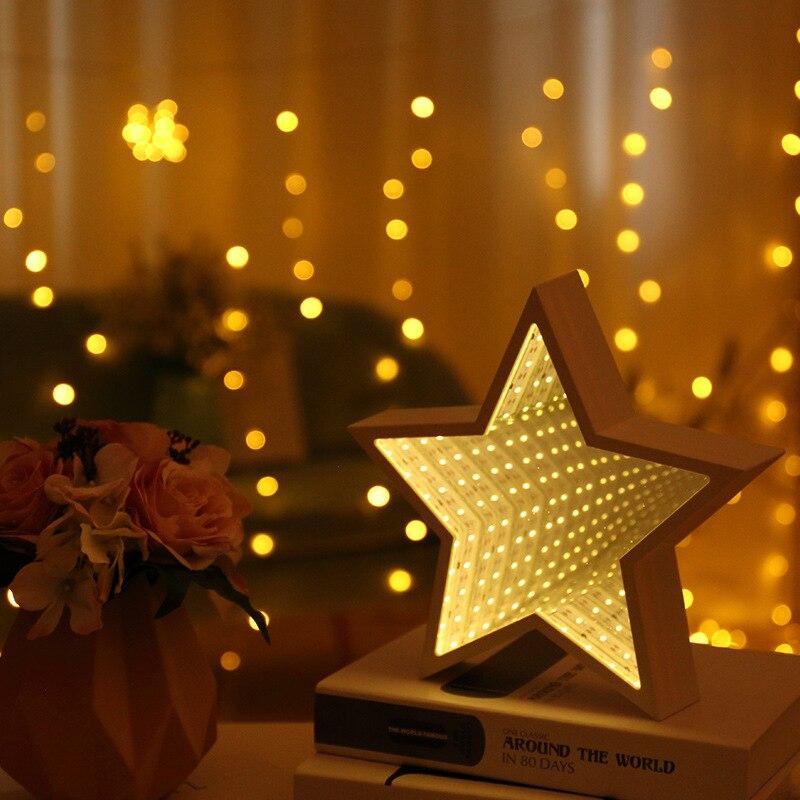 Jsex conduziu a lâmpada luz da noite lâmpadas 3d luzes do túnel de mesa do bebê criança luzes lâmpadas de mesa decoração para casa lâmpada espelho iluminação interior