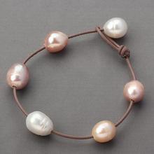 Большая Жемчужина кожаный браслет ювелирные изделия, кожа и подлинный пресноводный жемчуг браслет, белый розовый фиолетовый натуральный жемчуг ювелирные изделия
