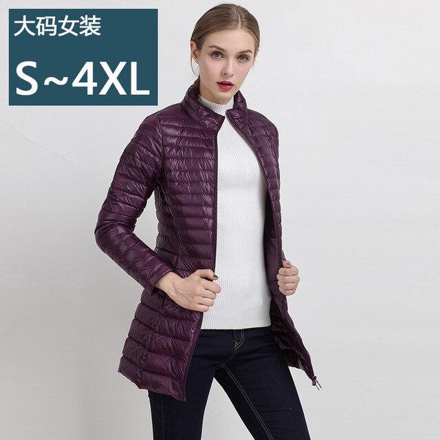 a69e181a115 Women 90% White Duck Long section Down Jacket Women s Hooded Ultra Light  Down Jackets Warm