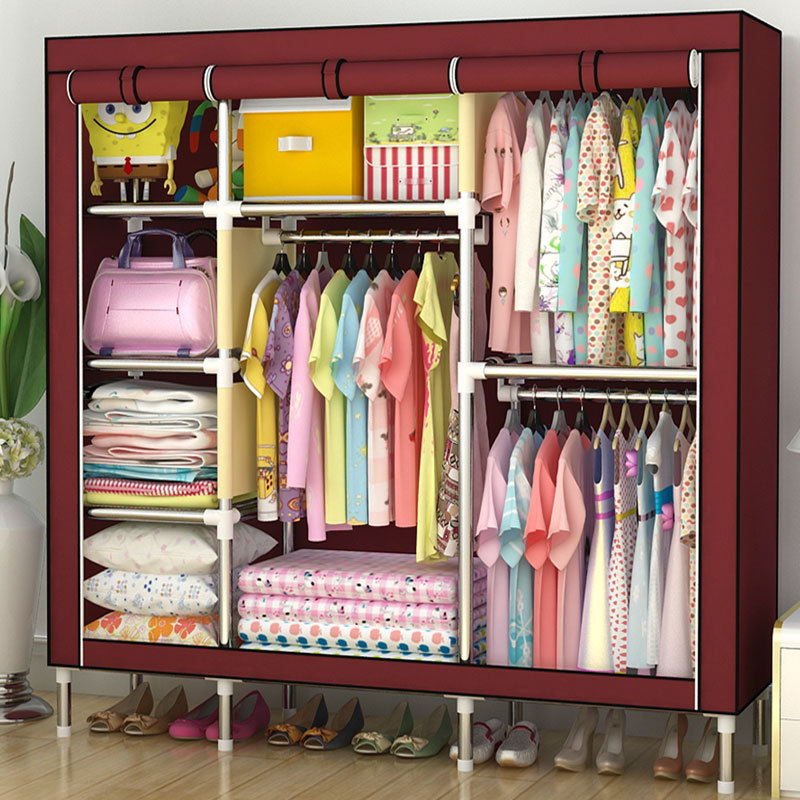 Sell Well Wardrobe Large Simple Home Steel Clothes Storage Bold Thicker Steel 25mm Frame wardrobe extra large eco friendly cartoon hanging clothes cabinet wardrobe storage box wire combined type child simple