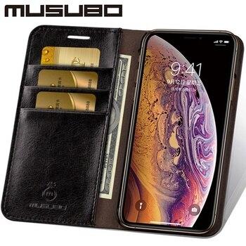 Musubo Leather Case Voor iphone 8 Plus 7 Plus Luxe Wallet Telefoon Gevallen Cover voor iphone Xs Max 6 Plus 6s Plus 5 5s SE Capa Coque