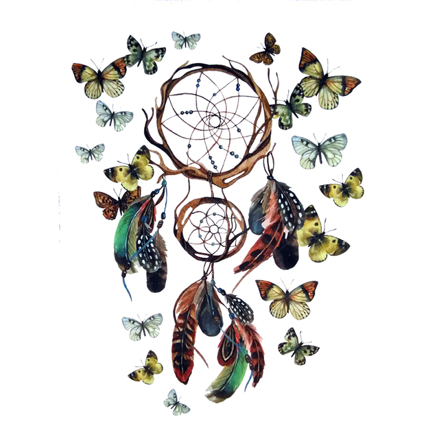 Dream catcher net with butterfly waterproof temporary tattoo dream catcher net with butterfly waterproof temporary tattoo stickers dreamcatcher tattoo designs pronofoot35fo Choice Image