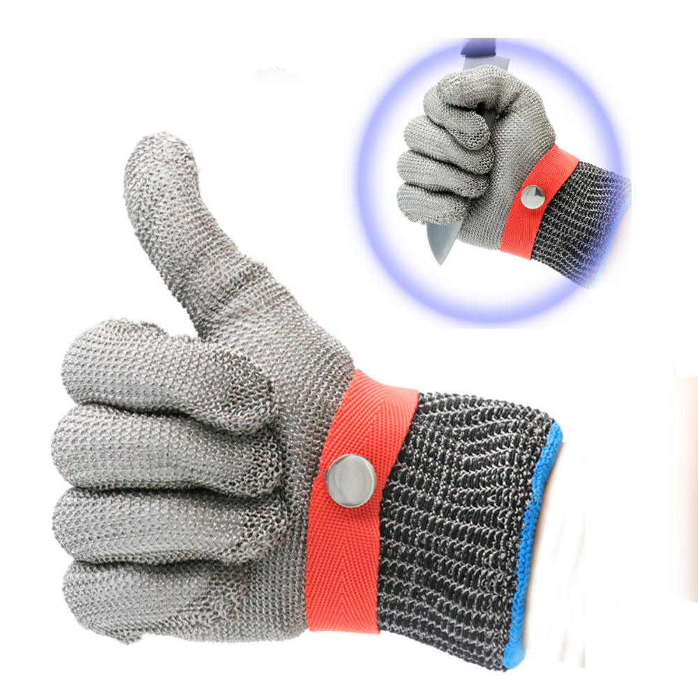 LB102 316L Stainless Steel Wire Mesh Cut Proof Resistant Chain Mail Protective Glove for Working Safety Level 5 Protection top quality 304l stainless steel mesh knife cut resistant chain mail protective glove for kitchen butcher working safety