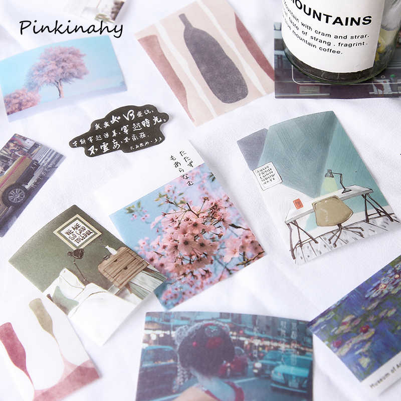 40 Sheets/Pack Sakura Kawaii Journal Diary Van gogh Japanese Diy Travel Paper Cute Stickers Scrapbooking Flakes Stationery DT007