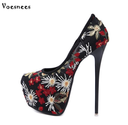 2018 Classiques Cm 17 Noir Femmes Rond Mariage Haute Bout Pompes De Coloré Chaussures Broder Talons Profonde Modèle Mode Peu rqraEFZ
