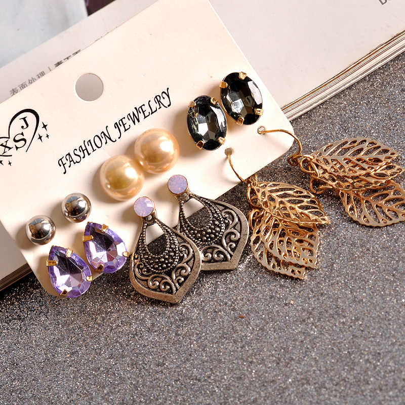 2019 new fashion women's jewelry girls' birthday party: pearl earring  purple and gray  mixed suit 6 pairs /set earrings