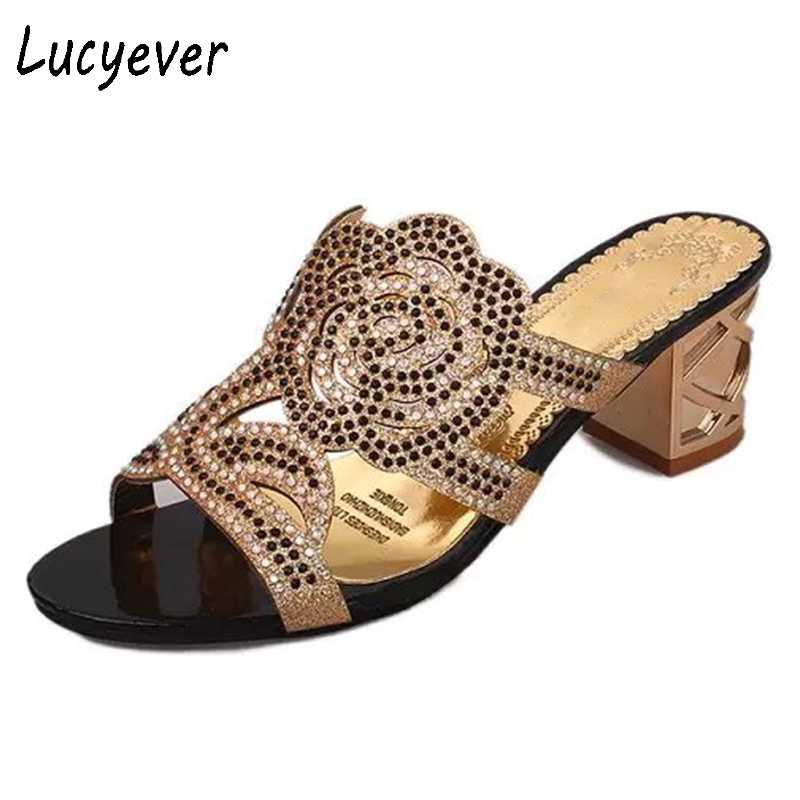 Lucyever 2018 Woman Slippers Flower Rhinestones Crystal Gladiator Outside Flip Flops Square Heels Open Toe Comfortable Sandals 2014 free shipping open toe hand sewing crystal chiffon flower pu insole comfortable pure white wedding flip flop