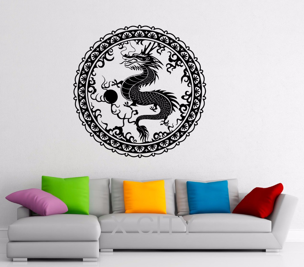popular chinese wall dragon buy cheap chinese wall dragon lots chinese dragon wall decal orient mythology vinyl stickers chinese style home interior design art murals living