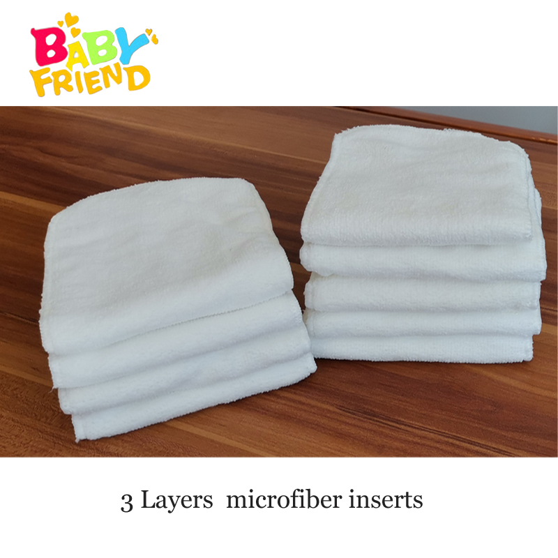 Babyfriend Reusable Diaper Inserts For Cloth Nappies Super-absorbency 3 Layers Microfiber Liners Pocket Nappy Inserts Wholesale