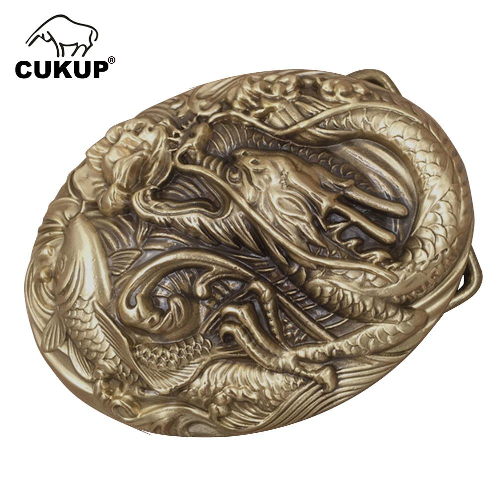 CUKUP DIY Dragon Fish 3D Pattern Solid Brass Belt Buckles Chinese Style 2018 New Designer Belt Accessories Paties BRK010