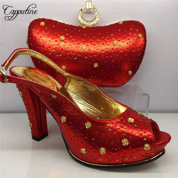 Capputine New Arrival Rhinestone Red Color Wedding Shoes And Bags Set African Elegant Pumps Shoes And Bag Set For Party BL995C