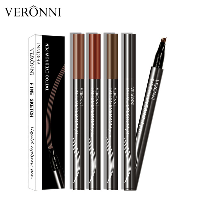 VERONNI 4 Colors Eyebrow Pencil Natural Maquillaje 3D Eyebrows Tint Eye Brow Microblading Eyebrow Tattoo Pen Extension Liquid 5