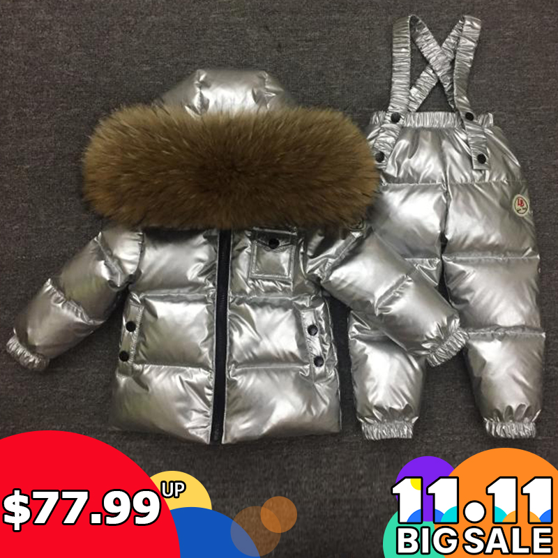 Girls Child Wadded Jacket Outerwear Clothing Baby Boys Girls Silver Suit Children Winter Down Jacket Girls Parka Clothing Set children s clothing male child wadded jacket autumn and winter medium long 2017 child plus velvet thickening outerwear baby top