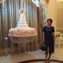 """Стиль диаметр 2""""(60 см) стеклянная хрустальная люстра стиль драпировка качели круглый подвесной свадебный торт стенд"""