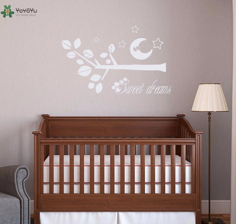 YOYOYU Vinyl Wall Decal Sweet Dreams Moon Stars Tree Branch Kids Bedroom Room Art Home Decoration Stickers FD371