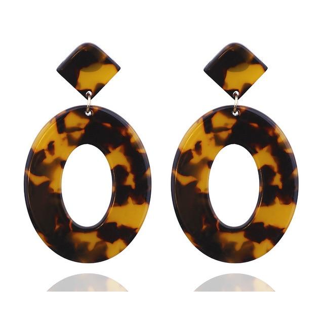 Женские акриловые серьги с леопардовым принтом большие круглые