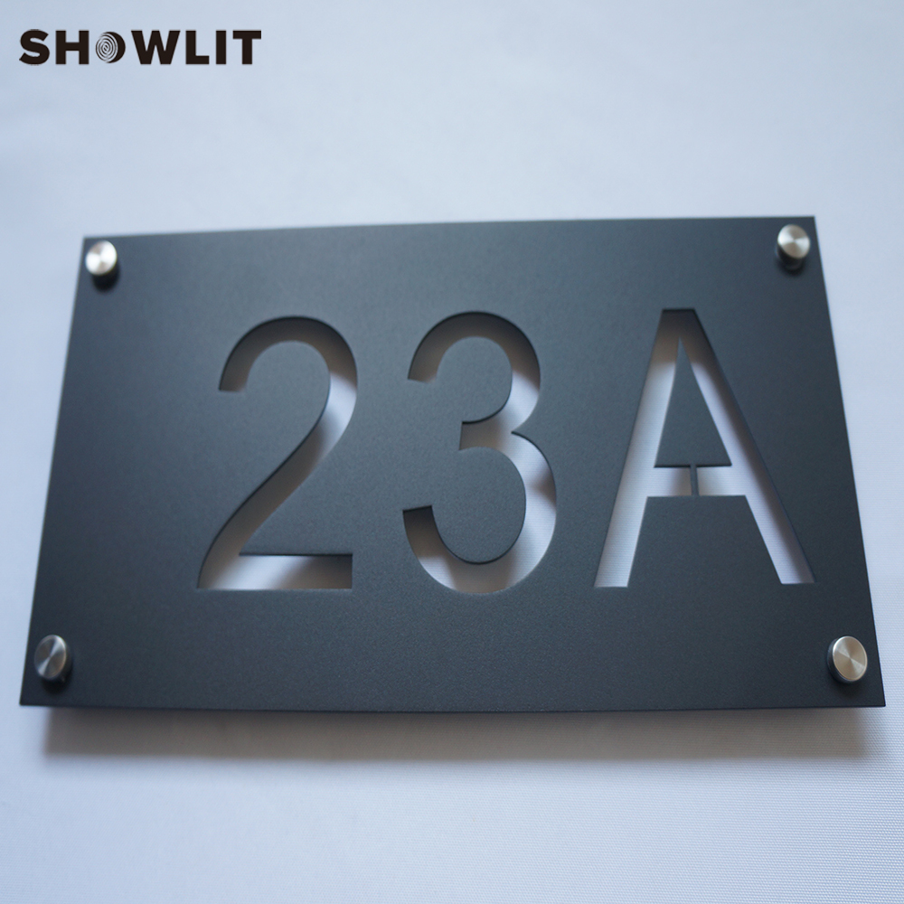 Powder Coated Black Custom House Number Sign Baking Varnish Office Sign Black Big Door Number With