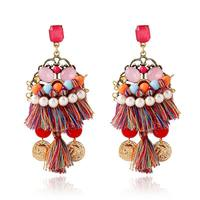 Hot Sale Famous Brand Za Exaggerated Bohemia Tassel Earrings Ethnic Gold Coin Earrings For Women 2015
