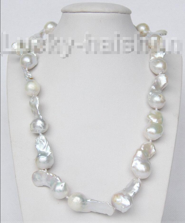 "Hot sale new Style >>>>>luster 18"" 35mm white Reborn keshi pearls necklace 925 silver clasp j9368"