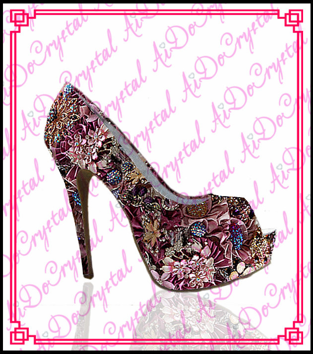 Aidocrystal colorful luxury brand floral print heels,crystal rhinestone peep toe wedding shoes