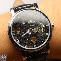 2016 New Fashion Design Hollow Engraving Case PU Leather Skeleton Mechanical Watches For Men LL