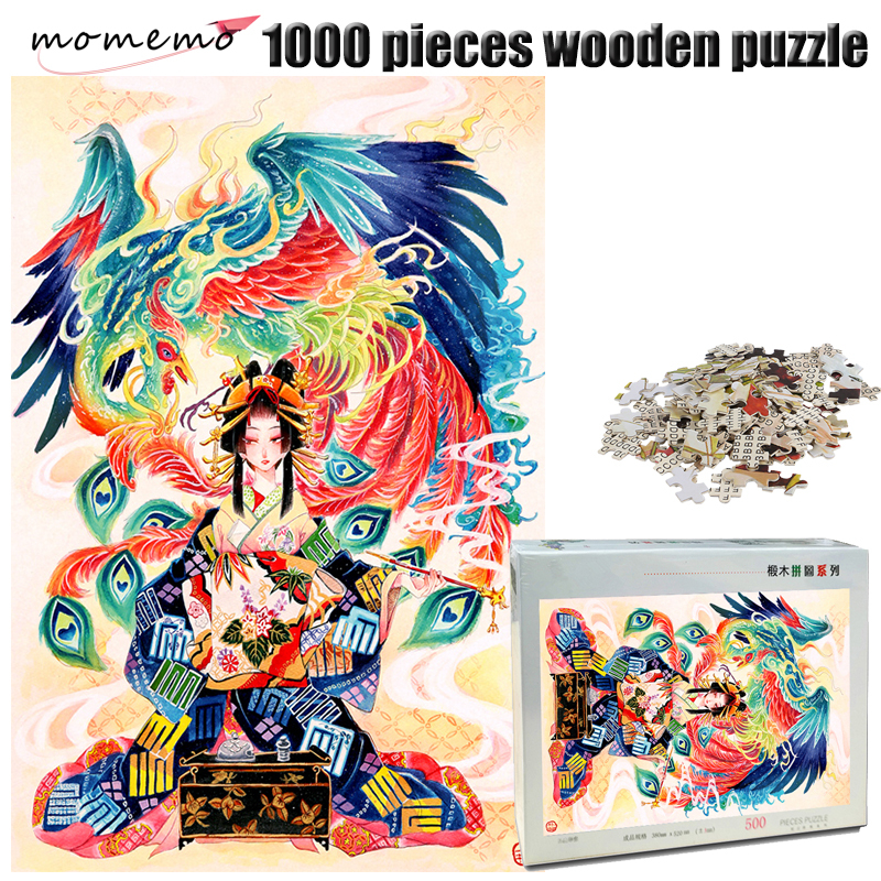 MOMEMO Phoenix and Girl Jigsaw Puzzle Wooden 1000 Pieces Adults Exquisite Pattern Hand Painted Color Puzzles Toys for Children