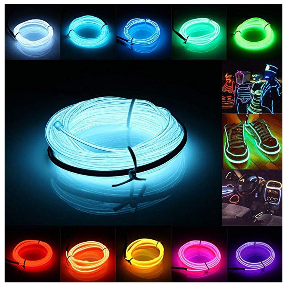 10 Colour 1M 2M 3M 5M Flexible LED Neon Light Glow EL Strip Tube Wire Rope Battery Christmas