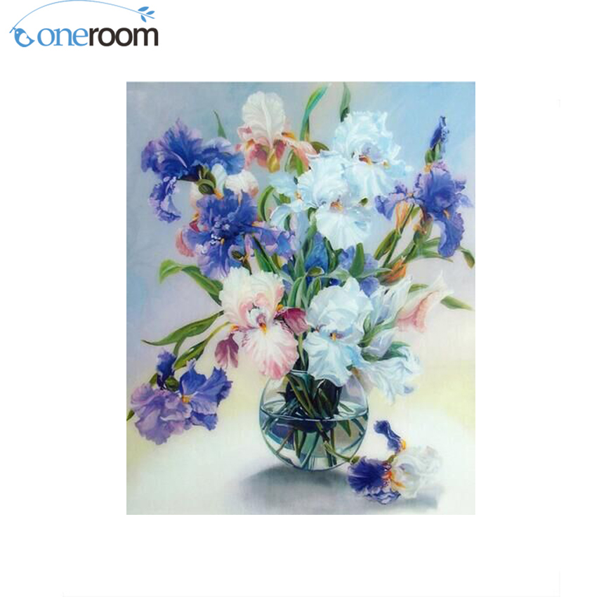 Oneroom Diy Diamond With Painting A Vase Of Irises Flower Handicraft
