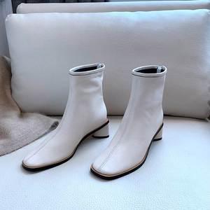 Image 3 - סופרסטאר גדול גודל אמיתי עור zip כיכר טו med העקב נשים קרסול מגפי מסלול אלגנטי אופנה מגפי מותג חורף נעליים l09