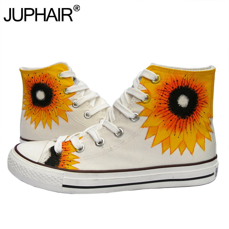 цены  JUP Womens Sunflower Couples Hand Painted Shoes Anime Despicable Me Minions Graffiti Breathable Cartoon Minion Canvas Flat Shoes