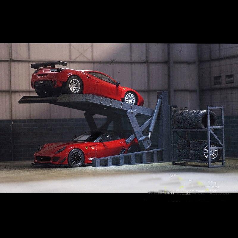 1:64 Garage Repair Shop Scene Accessories Parking Lot Shelf Lift Tire Frame plastic material