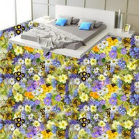 Free Shipping 3d Flowers Floral Flooring Anti Skidding Thickened Flooring Mural Living Walls Bathroom Bedroom Wallpaper