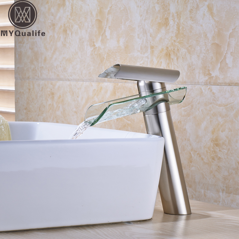 Brushed Nickel Glass Waterfall Basin Faucet Bathroom sink Wash Basin Mixer Tap Deck Mounted Free Shipping