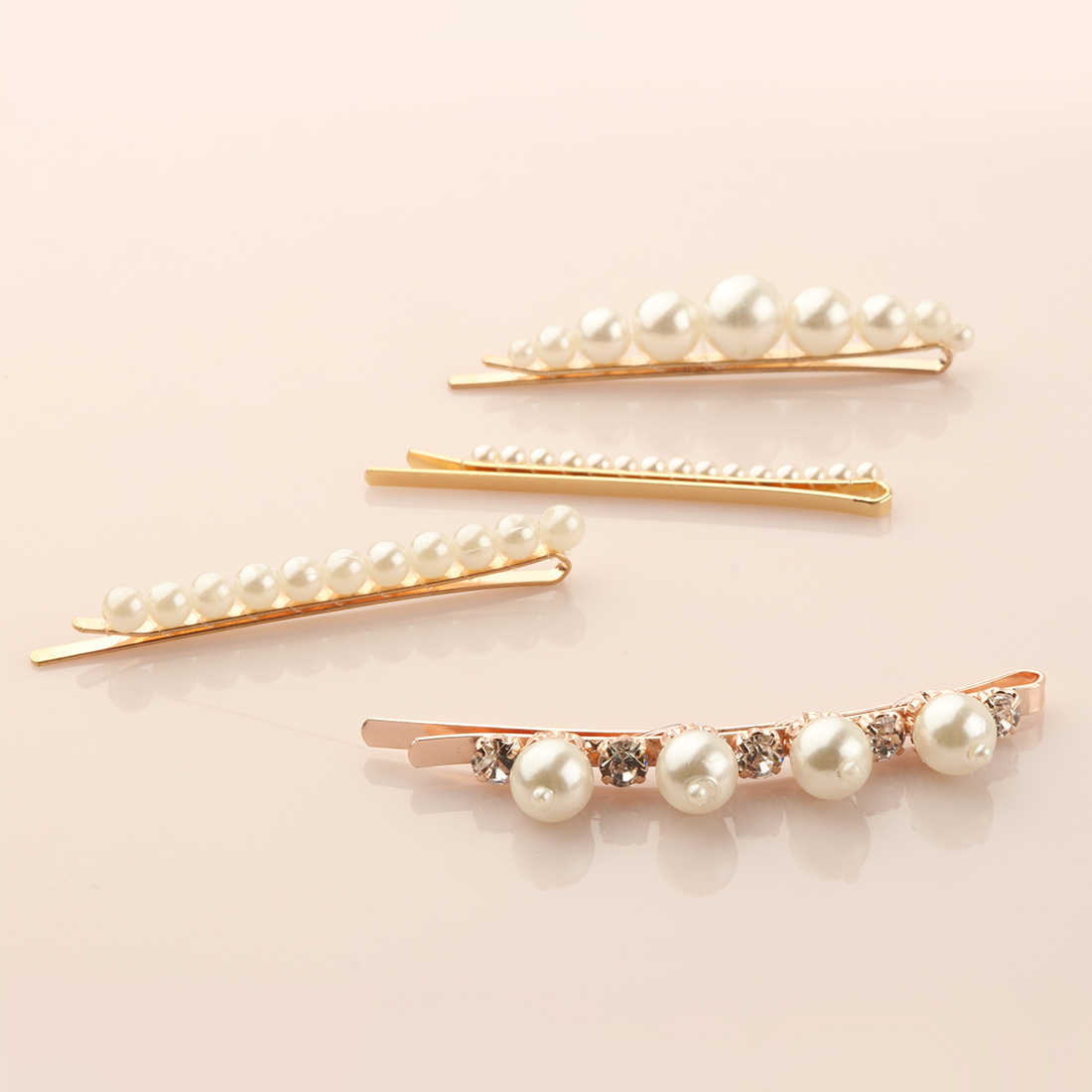1 PC Women Fashion Pearl Hair Clips Elegant Girls Hair Accessories Mini Shiny Hairpins Princess Metal Alligator Clip Head Wear