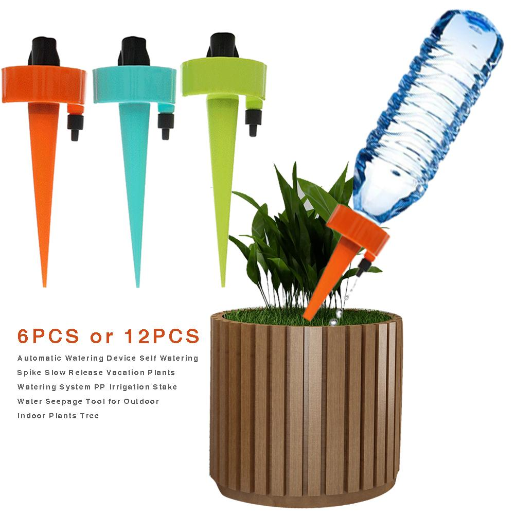 Image 2 - 6PCS or 12PCS Automatic Watering Device Self Watering Spike Slow Release Vacation Plants Watering System PP Irrigation Plants-in Garden Water Connectors from Home & Garden